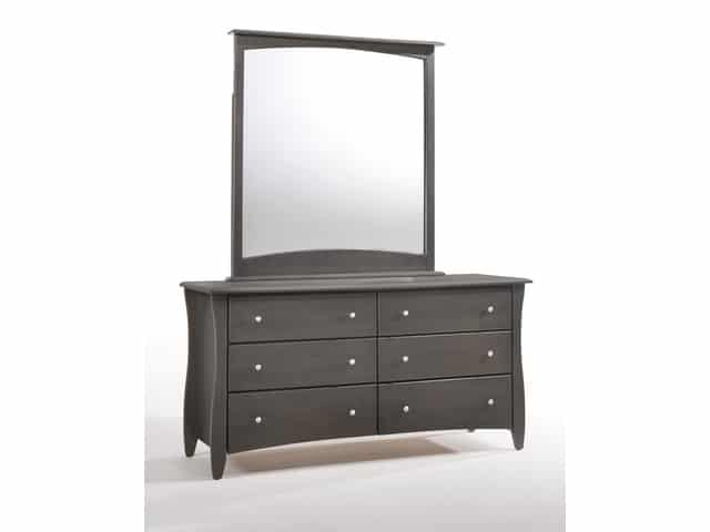 Clove 6 Drawer Dresser & Mirror Stonewash (Metal Knobs)